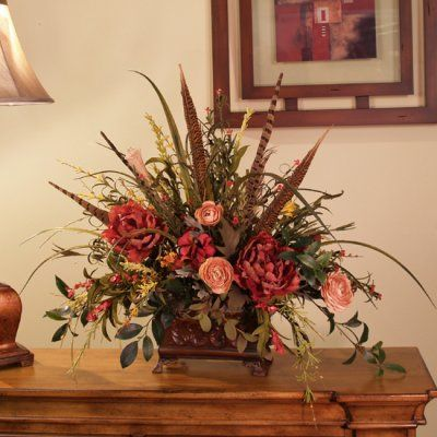 Soft Touch Wildflowers And Pheasant Feathers Terracotta Peonies - Unique natural flower arrangements for home