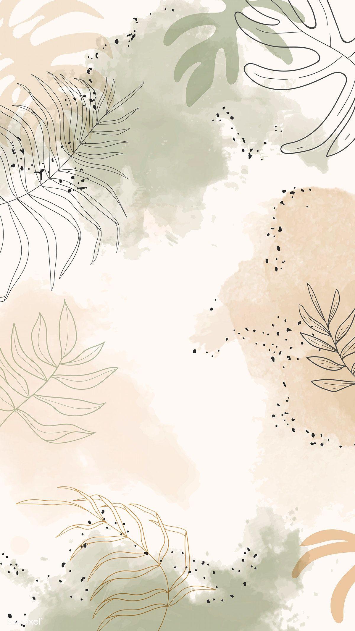 Download premium vector of Beige leafy watercolor mobile phone wallpaper -   13 plants Wallpaper phone ideas