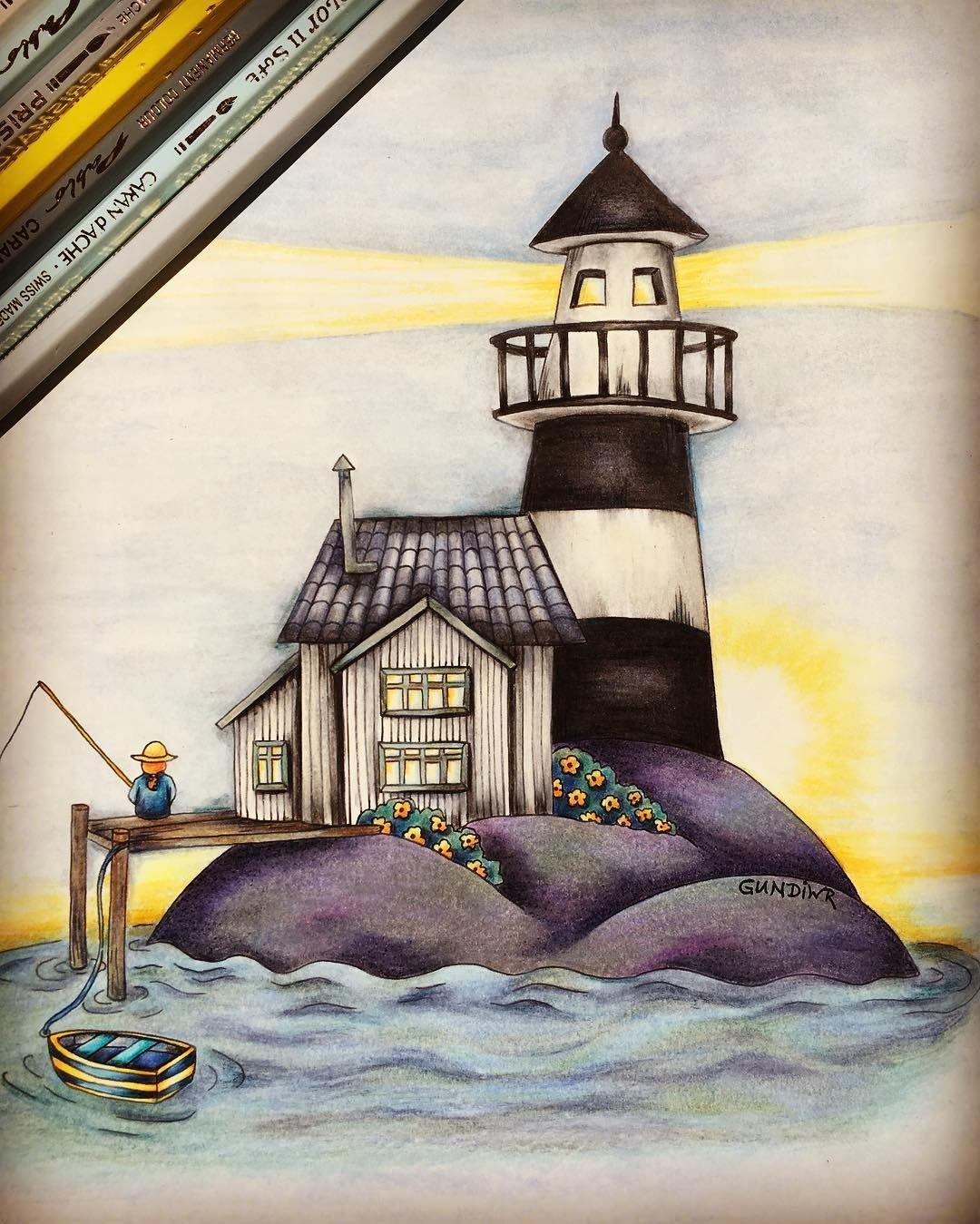 A Sunny Weekend To All Of You Lighthouse From Botanicum Maria Trolle Mariatrolle Botanicum Lighthouse Kleurboek Kleurpotlood Kunst Kleuren