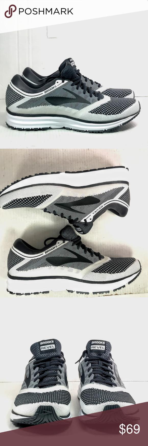 4c8f1ab6c9a Brooks Revel White Anthracite Black Running shoes Brooks Mens Revel White  Anthracite Black Running Shoes Size