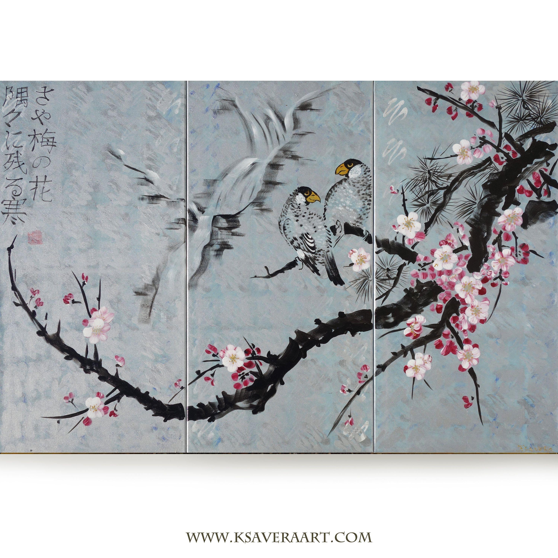 Japan Art Cherry Blossom And Love Birds Japanese Style Silver Painting J133 Large Wall Art By Artist Ksavera Japan Art Art Painting