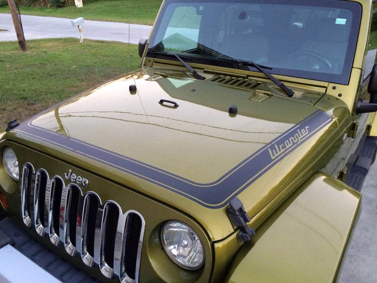 Retro Stripes Decal Sticker For Jeep Wrangler Rubicon Hood All