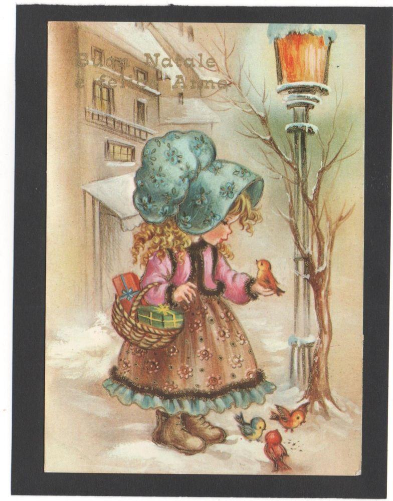 6f9c094cd14c44 Cartolina Buon Natale e Felice Anno BAMBINA UCCELLINI CECAMI 4100 YE163