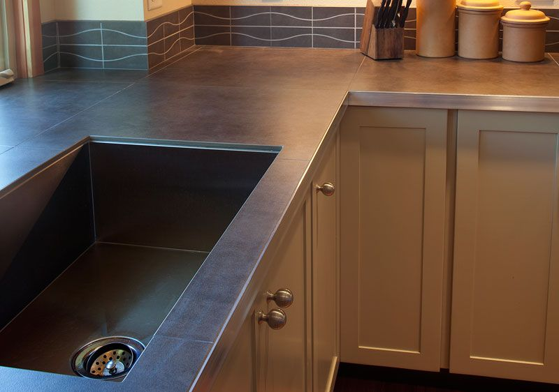 Porcelain countertops with metal edge modern cabin for Porcelain countertops cost