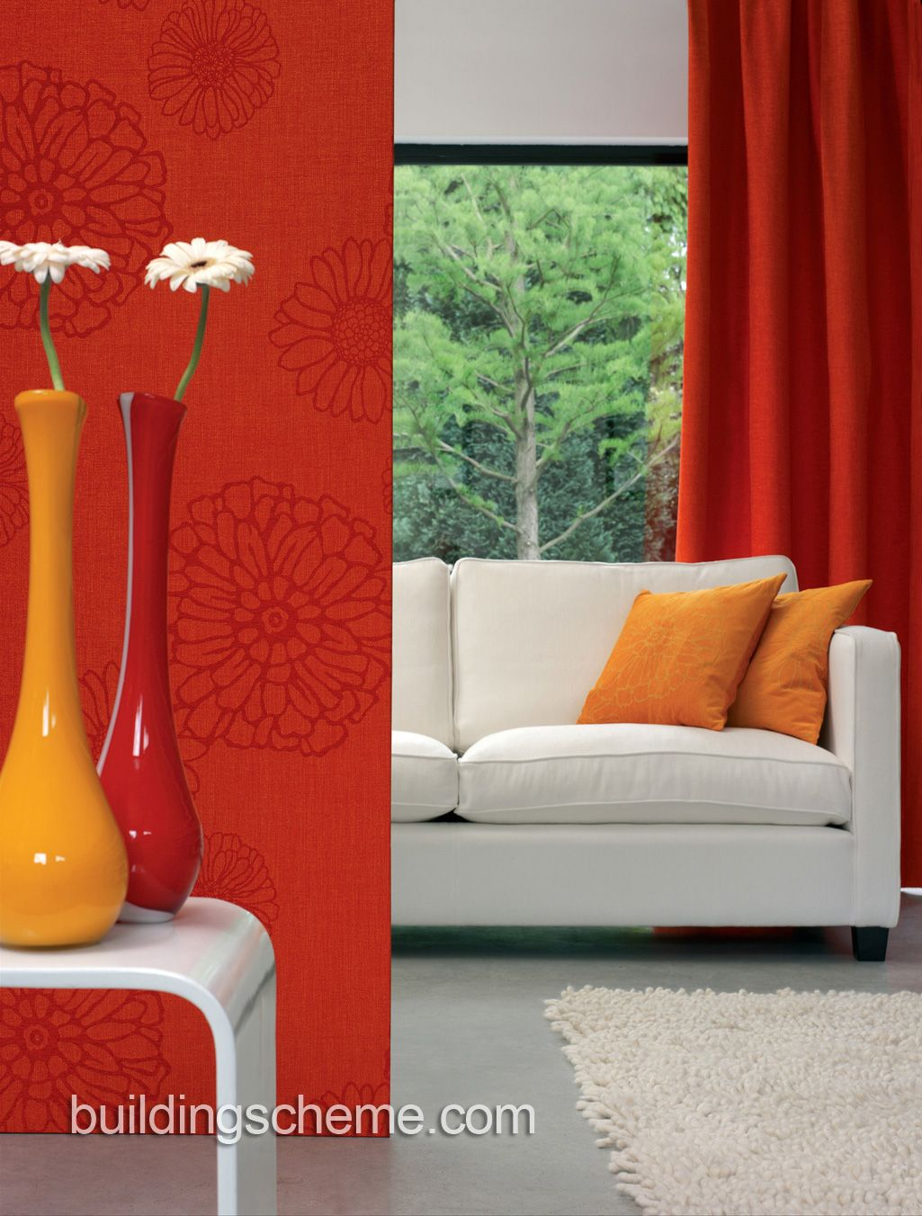 Nice Curtain Style Ideas For Contemporary And Modern Living Room Inspiration Orange Curtains For Living Room Review