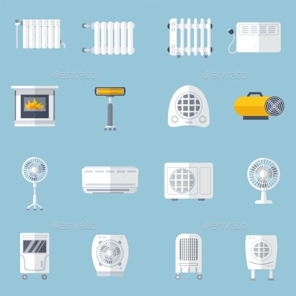 Heating And Cooling Flat Set Technology Icon Flat Icons Set