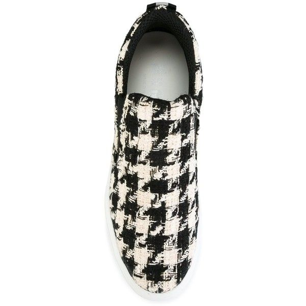 MSGM Houndstooth Pattern Sneakers ($332) ❤ liked on Polyvore featuring shoes, sneakers, black white shoes, patterned shoes, msgm, houndstooth shoes and wool shoes