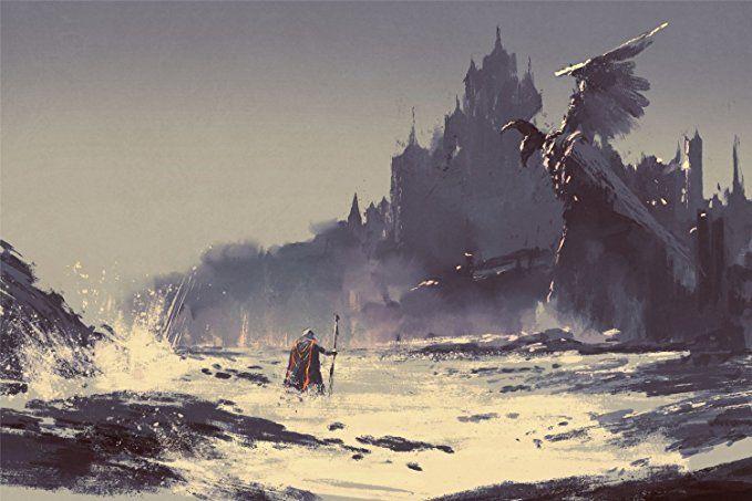 Zauberer Fantasy Drachen Festung Bild XXL Wandbild Kunstdruck Foto - grose wohnzimmer bilder