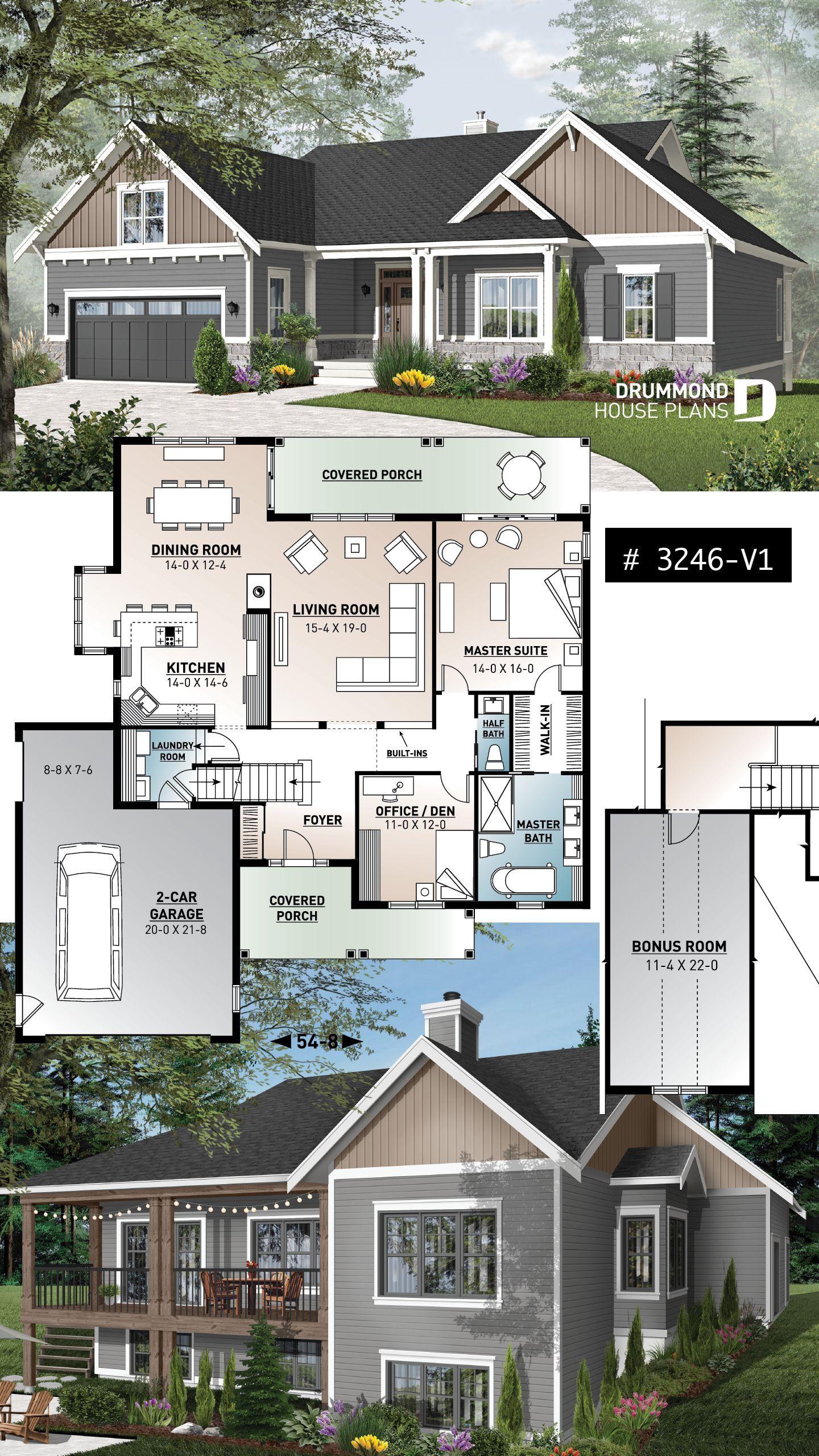 Open Floor House Plans With Walkout Basement In 2020 Bungalow House Plans Craftsman House Plans House Plans Farmhouse