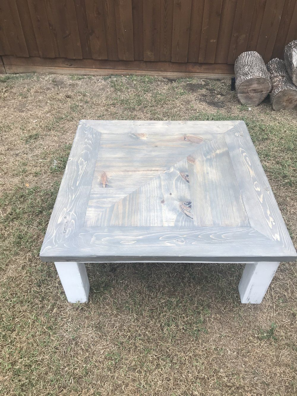 Farmhouse Big Coffee Table Square Weathered Gray With Images