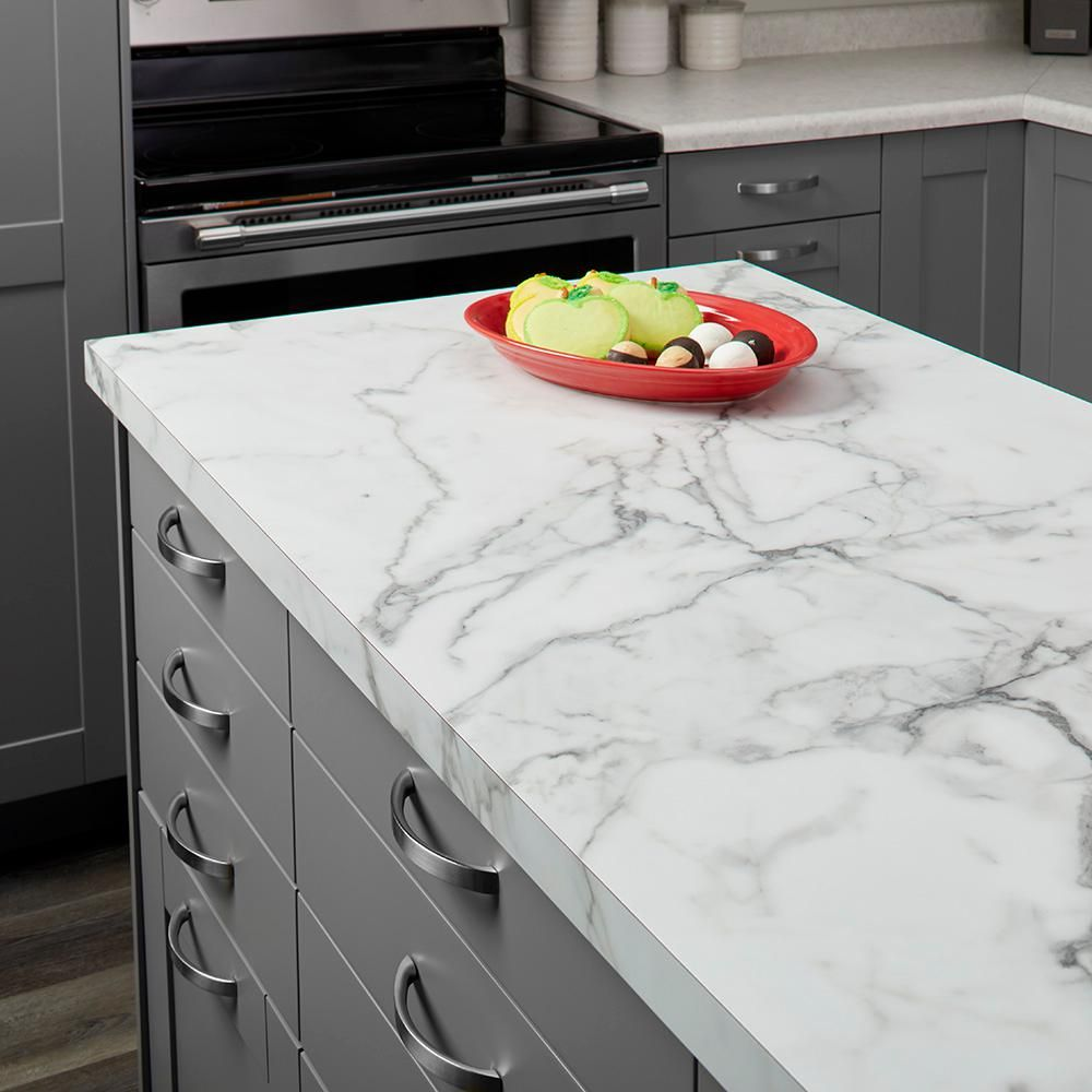 Formica 5 Ft X 12 Ft Laminate Sheet In 180fx Calacatta Marble With Satintouch Finish 034601211512000 The Home Depot Formica Kitchen Countertops Kitchen Countertops Laminate Laminate Kitchen
