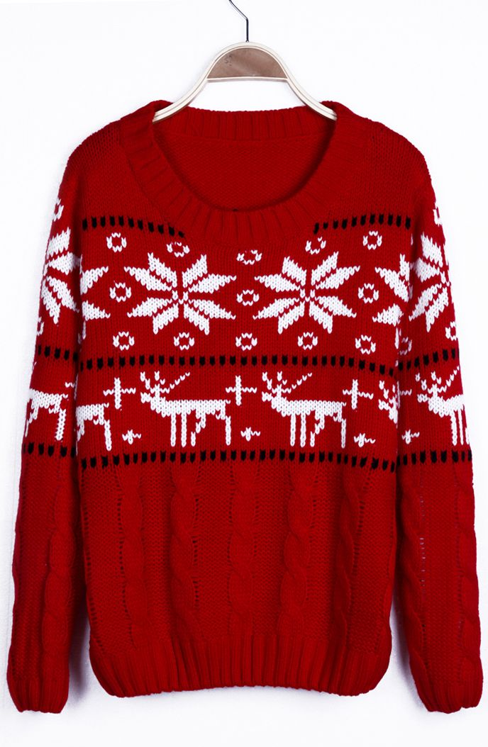 Red Snowflake with Deer Christmas Pattern Cable Sweater from sheinside.com. Lots of lovely sweaters + other latest fashion there as well. :)