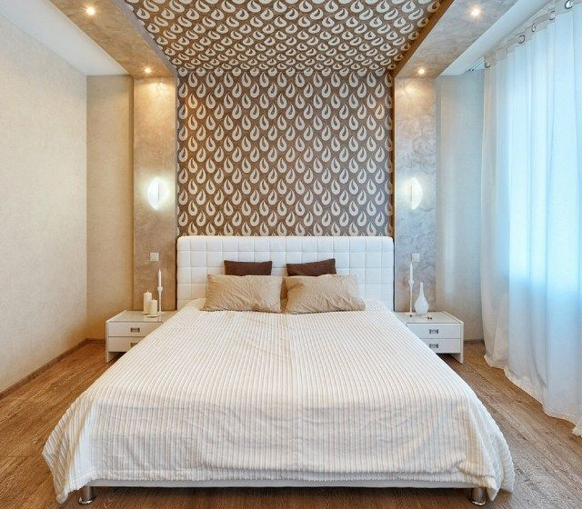 modernes schlafzimmer wand dekorieren tapete braun creme tropfen motive schlafzimmer. Black Bedroom Furniture Sets. Home Design Ideas