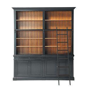 Klassische Bücherregale bücherregal aus kieferholz mit leiter schwarz bücherregale und deko
