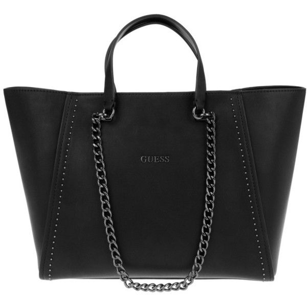 5f223397285a Guess Nikki Chain Tote Onyx in black, Shoulder Bags (490 BRL) ❤ liked on  Polyvore featuring bags, handbags, tote bags, black, guess tote, chain  shoulder ...