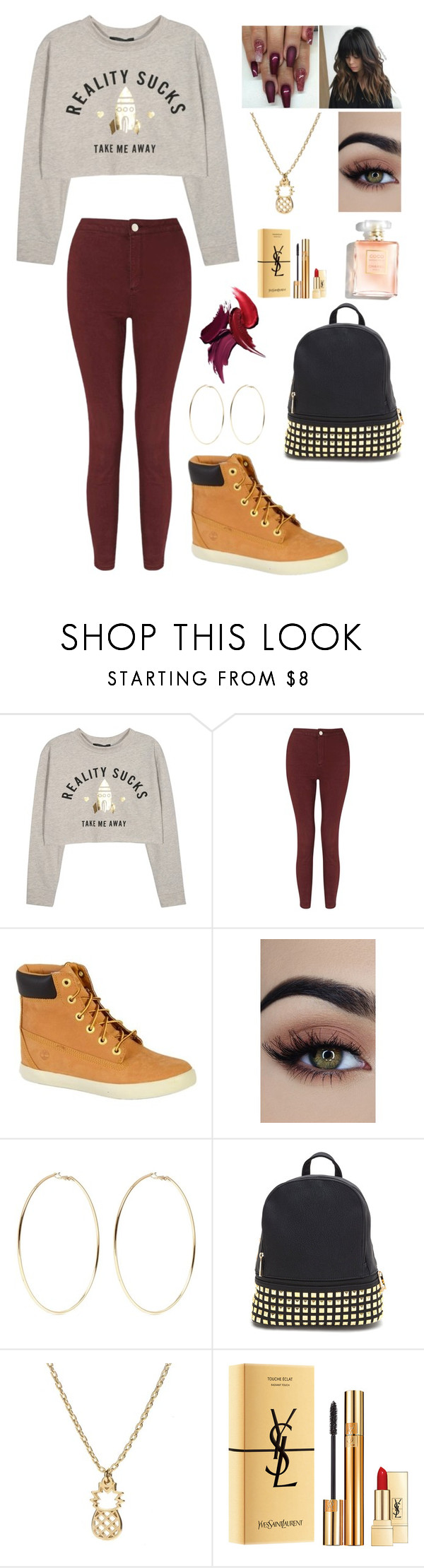 """""""Untitled #301"""" by brie-karitsa-luciano on Polyvore featuring Miss Selfridge, Timberland, Kenneth Jay Lane and Yves Saint Laurent"""