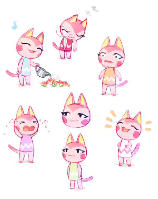 Duet Cat In Some Typical Villager Expressions Animal Crossing
