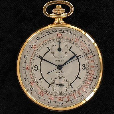 Vintage Rolex Chronograph 18 Kt Gold Cal. Geneva 17''' Pocket Watch extrem rare