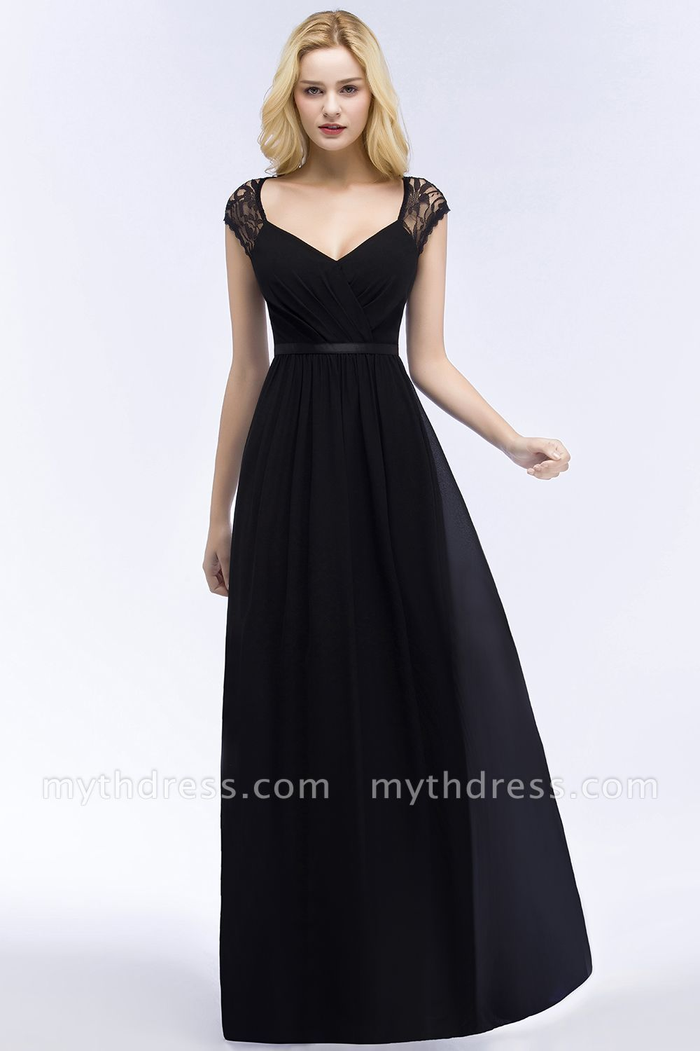 Affordable Summer Long Lace Chiffon Wedding Bridesmaid Dresses With Sash Ashley In 2020 Cheap Bridesmaid Dresses Black Bridesmaid Dresses Bridesmaid Dresses