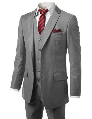 MONDAYSUIT Men Modern Fit 3Piece Suit Blazer Jacket Tux Vest Trouser GRY-50R 45W