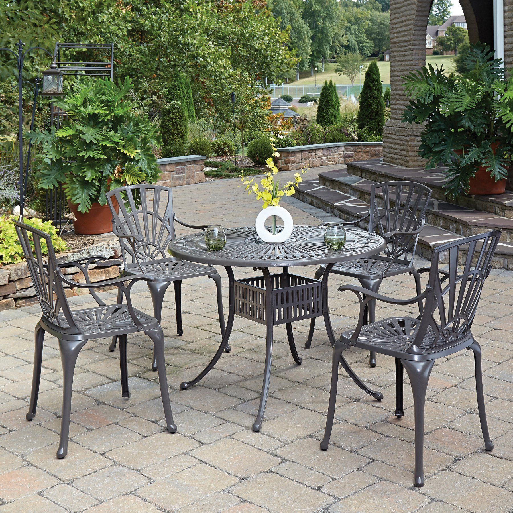 Outdoor Home Styles Largo Cast Aluminum 42 In 5 Piece Round Patio Dining Set With Optional Umbrella And Cushions Outdoor Dining Set Patio Outdoor Dining