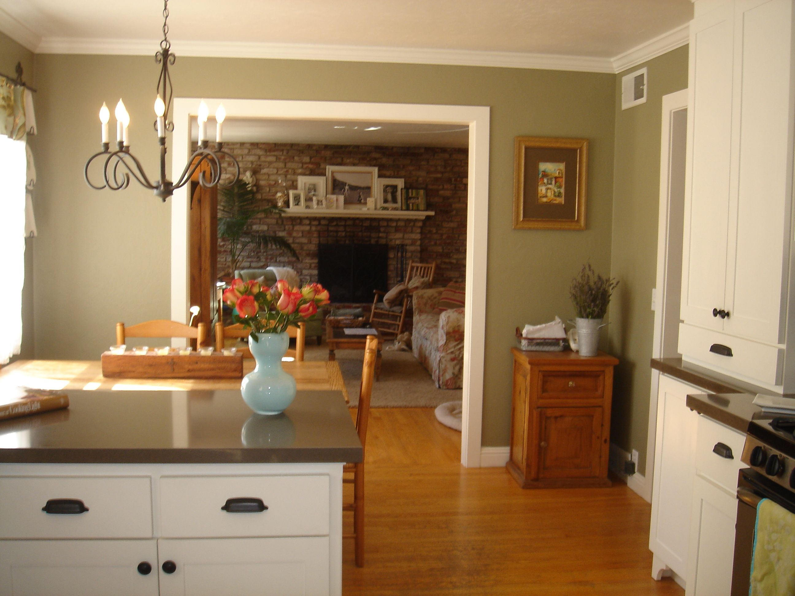 Green wall is Benjamin Moore Dry Sage. Counters are