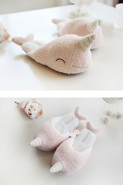 19e8a16ab Cute Narwhal Plush Slippers   slippers & sandals   Narwhal plush ...