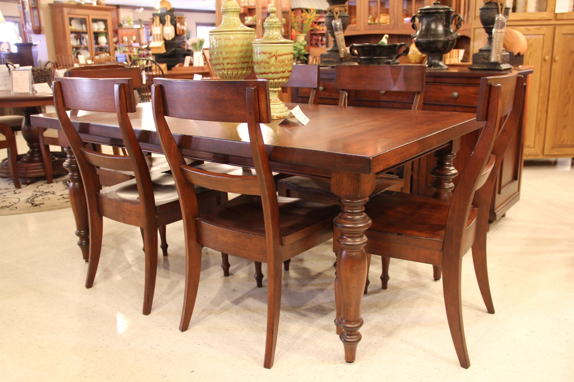 A Very Glossy And Refined Dining Room Table And Chairs Houston