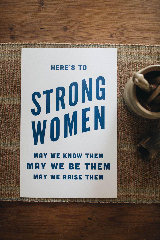 Letterpress: Here's to Strong Women (black)