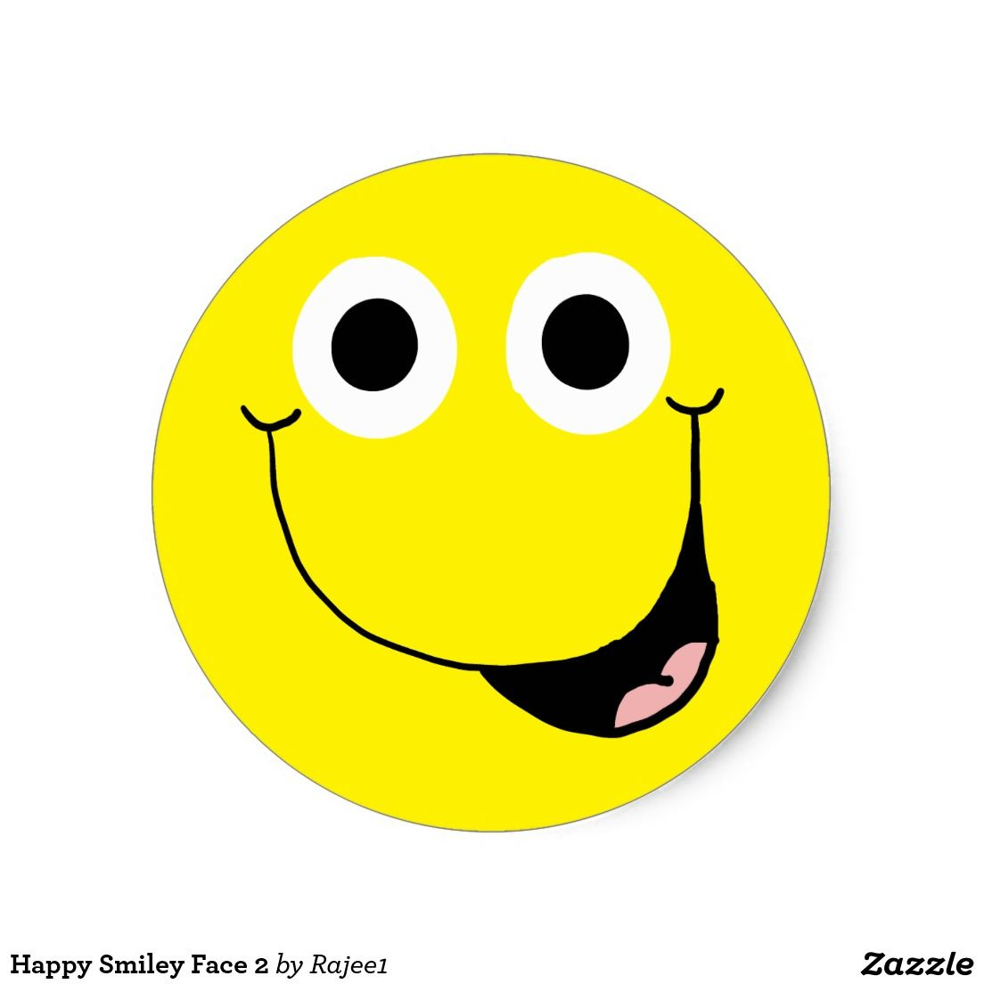 Happy Smiley Face 2 Classic Round Sticker | Happy smiley ...