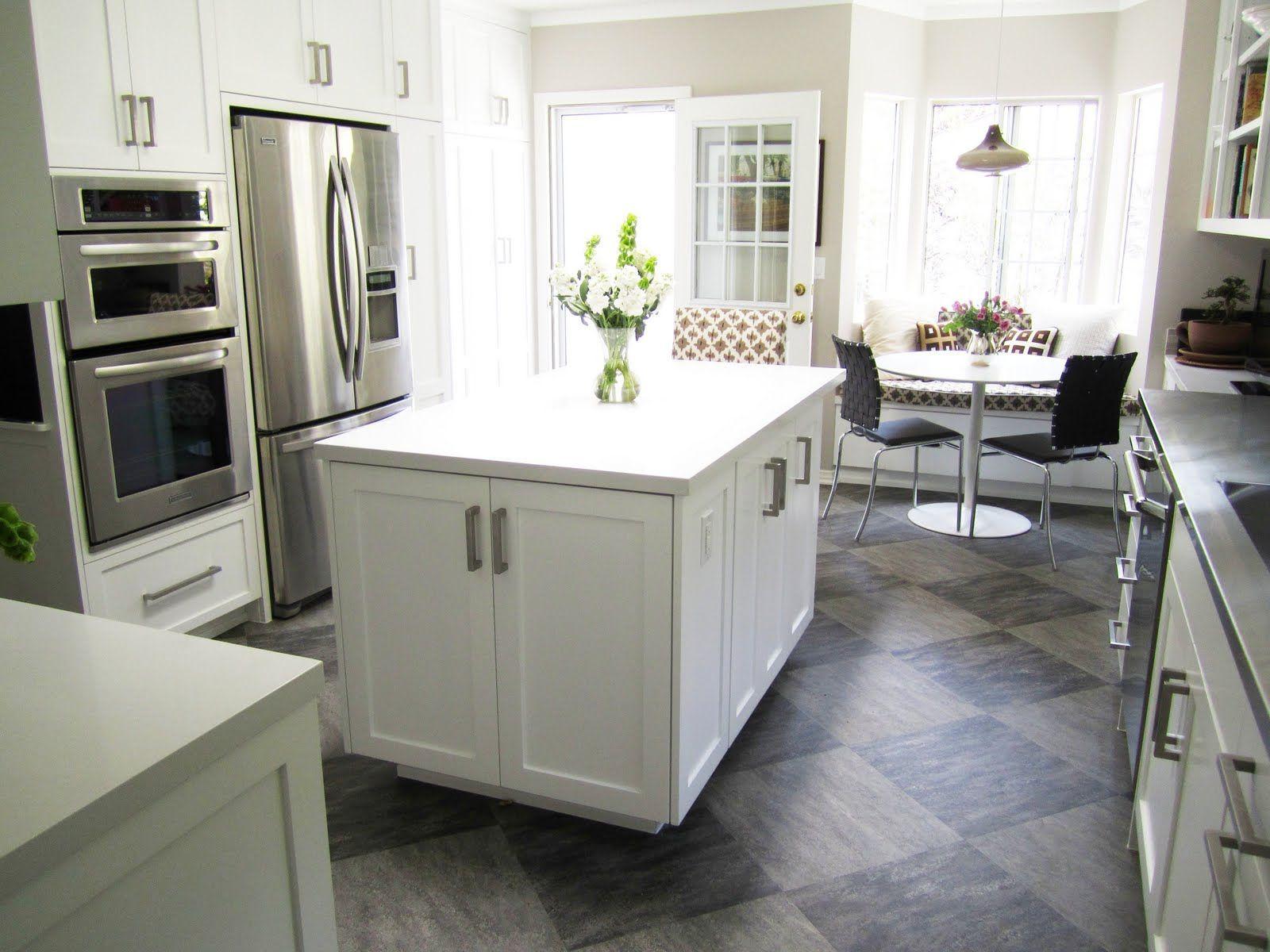 Kitchen Stunning Kitchen Flooring Ideas For Cozy Cooking Space Elegant Kitchen White With Grey A White Tile Kitchen Floor Grey Kitchen Floor Kitchen Design