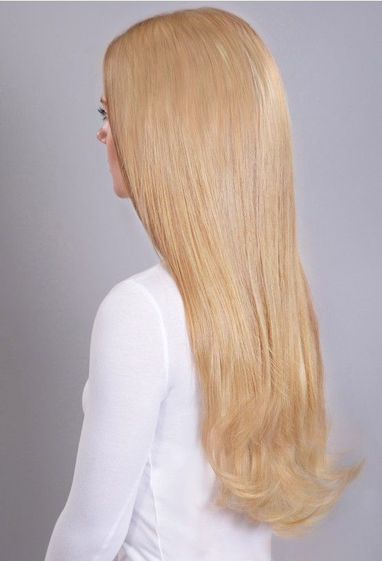 One Piece Wavy Clip In Human Hair Extensions 16 Golden Blonde