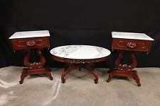 Set Of 3 Antique Italian Mahogany Marble Top End Coffee Tables
