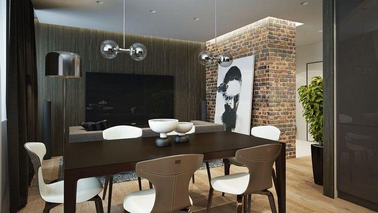 Wohnzimmer Im Urban Style   Dunkles Holz Und Rote Ziegel