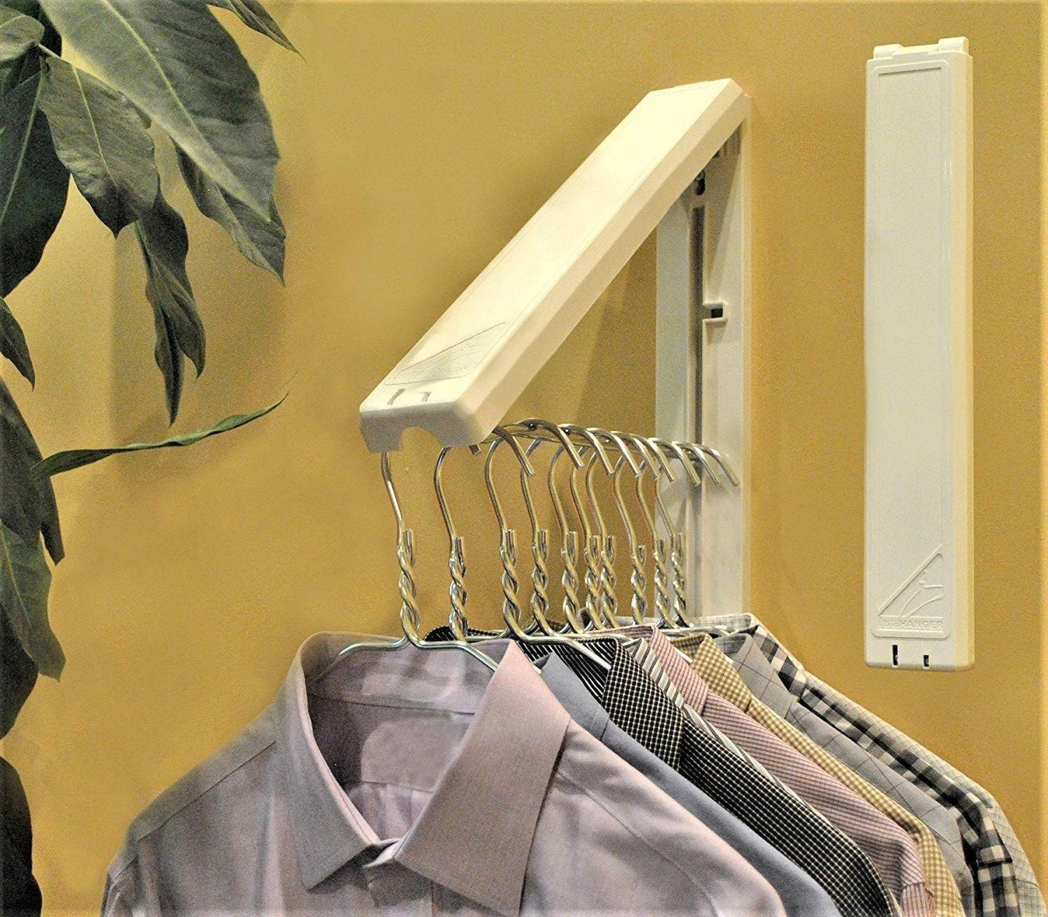 Attach An Expandable Clothes Rack To An Out Of The Way Corner Of