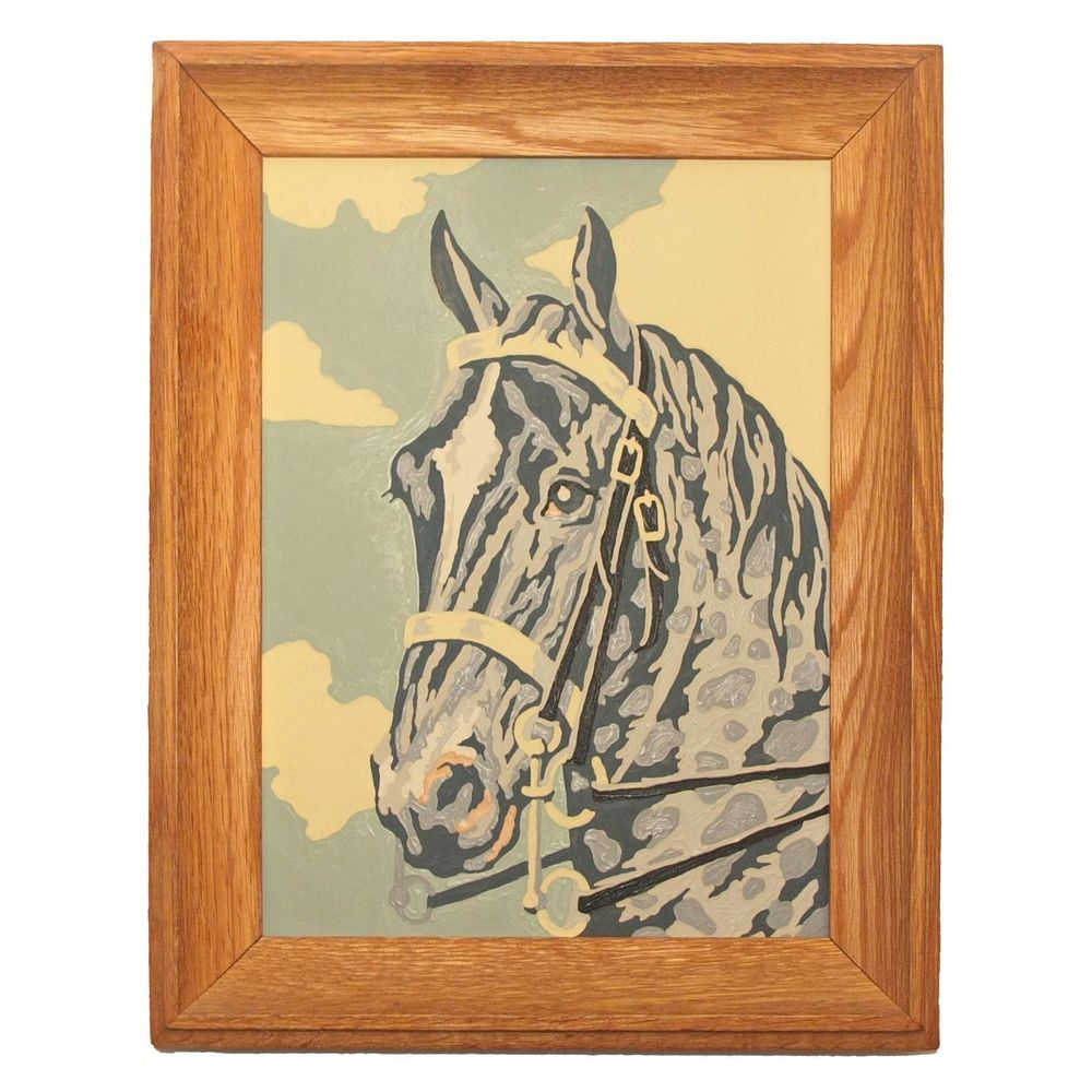 Vintage 1960's Paint by Number Grey Horse Head in Period Wood Frame #PaintByNumber