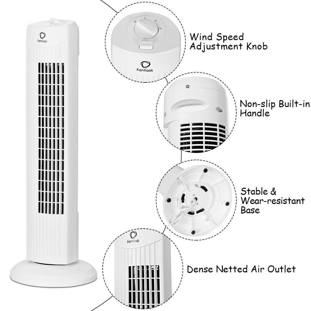 Fantask 35w 28 Quiet Bladeless Oscillating Tower Fan White Ebay Tower Fan Lasko Sun Power