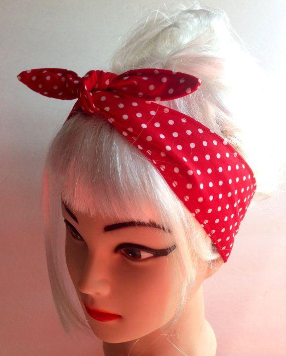 White on Red Polka dots Headband Pinup Vintage Retro Style 50s Rockabilly f59ca415ecc
