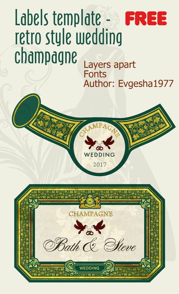 free wedding champagne labels retro style template your attention