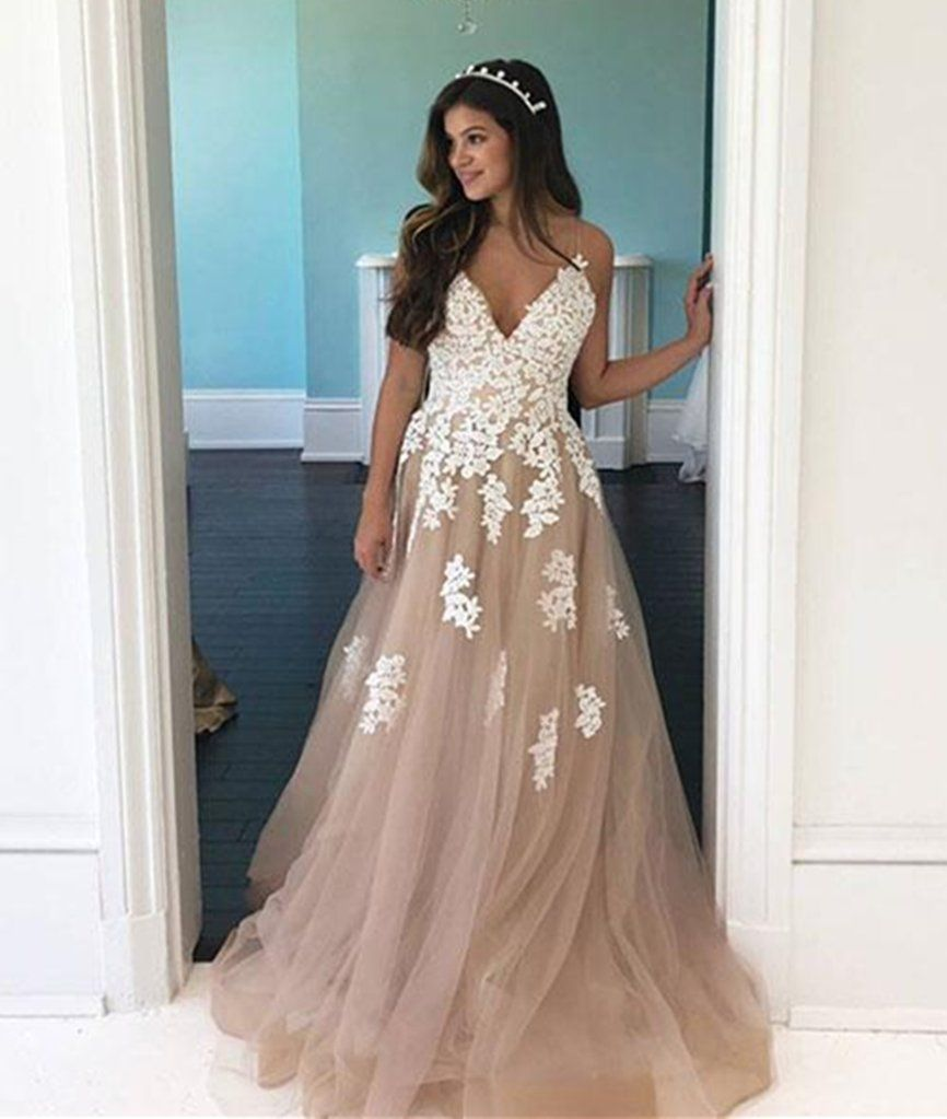cc6255ec93a A Line V Neck Champagne Tulle Long Prom Dress with White Lace ...