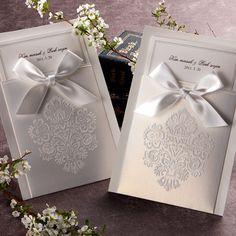 White Pocket Victorian Wedding Invitation - GA 1013 | ItsInvitation