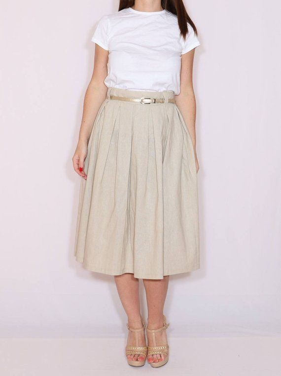 7fcc9fde277b Linen skirt High waisted midi skirt with pockets Women skirt Beige skirt
