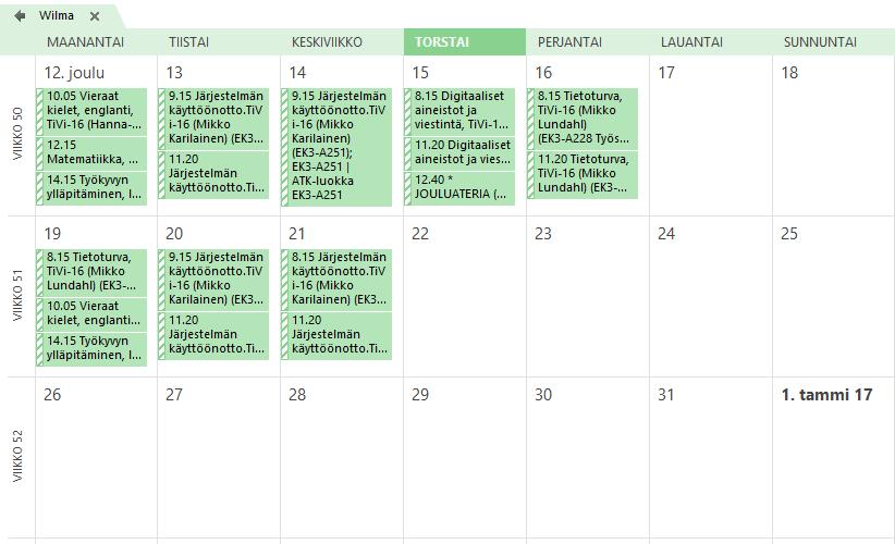 Wilman kalenteri