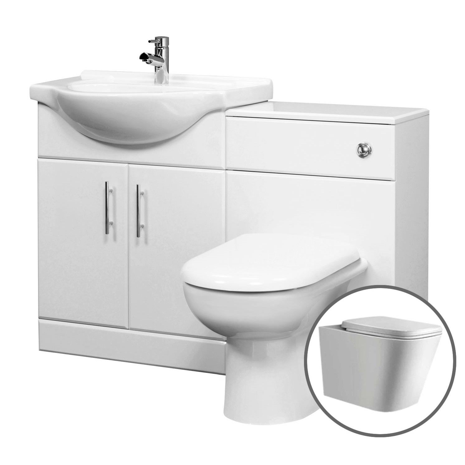 Tecaz bathroom suites - Tudelia Fitted Bathroom Furniture 1015mm Gloss White Suite Unit With Toilet And Basin