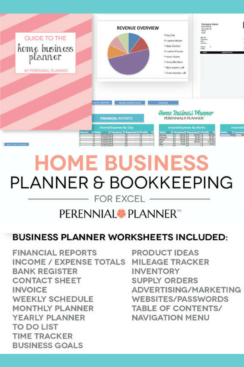 home business planner excel spreadsheet that creates printable