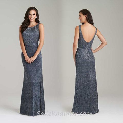2020 Abiye Elbise Modelleri Gri Uzun Kolsuz Sirt Dekolteli