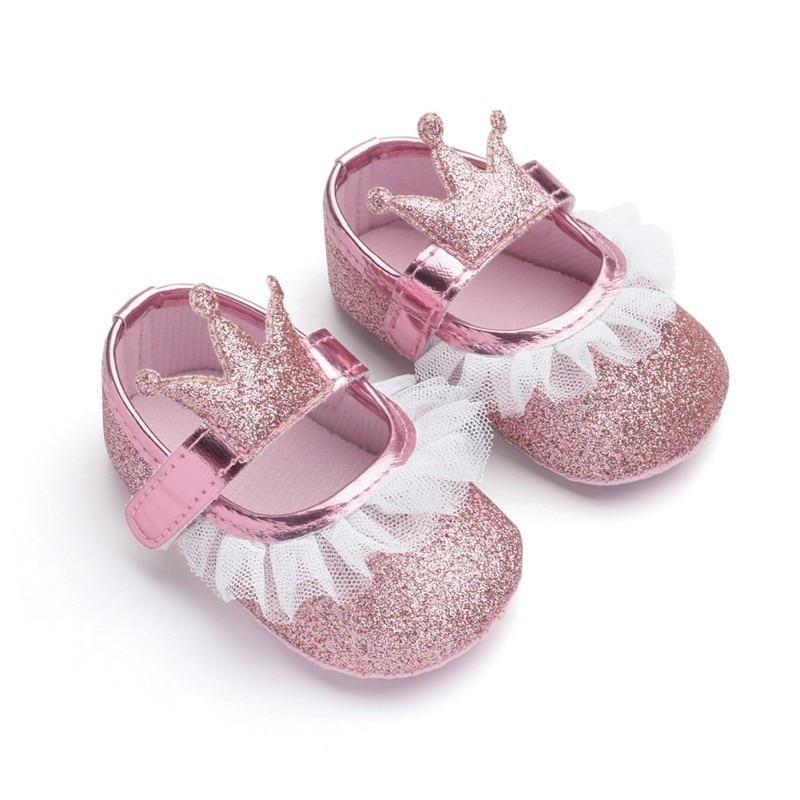Baby Girls Butterfly Sparkle Mary Jane Slip On Wedding Princess Dress Crib Shoes