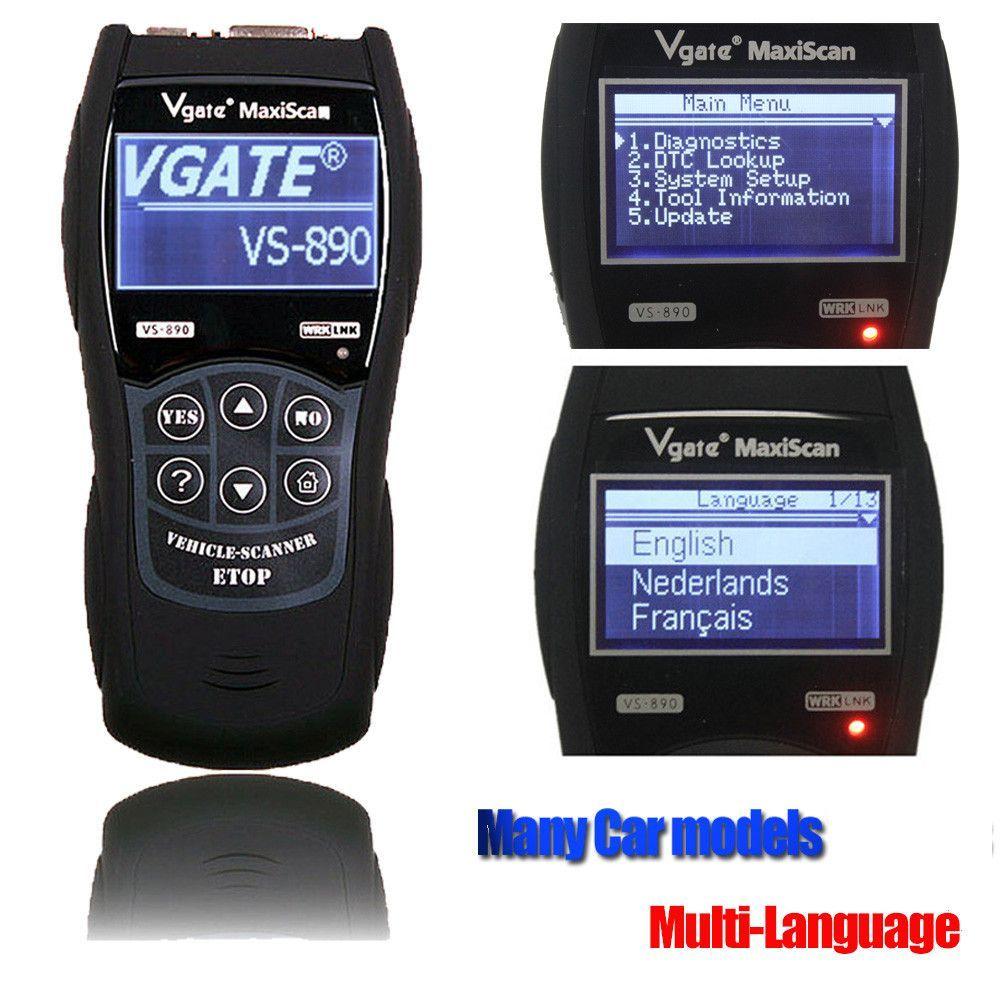 Code Reader Universal VGATE VS890 OBD2 Scanner Multi-language Car