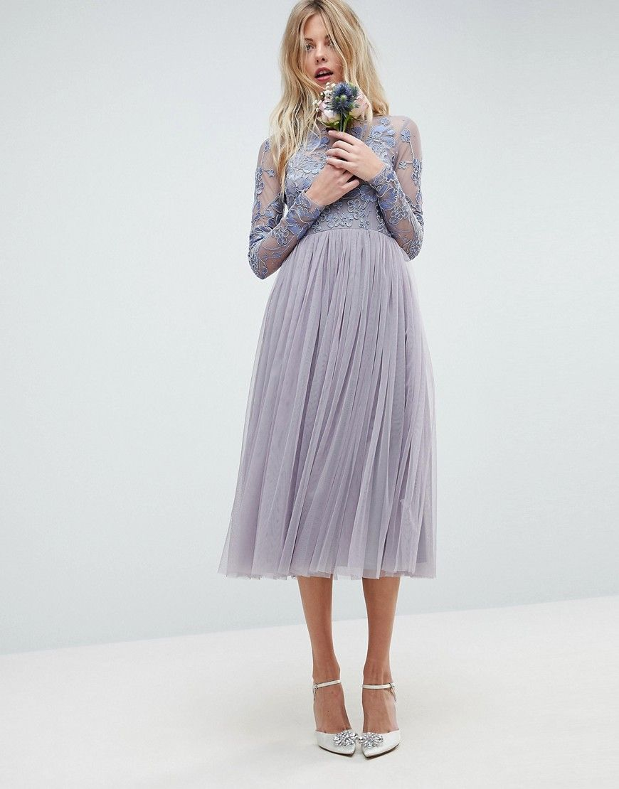 Asos wedding embroidered mesh midi dress blue products