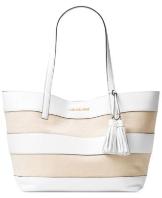 0e193b7f41c2 MICHAEL KORS MICHAEL Michael Kors Striped Large East West Tote.  michaelkors   bags  canvas  tote  leather  lining  polyester  hand bags  cotton